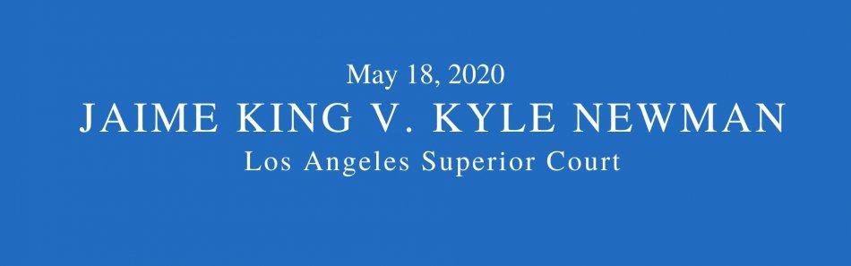 Blue background. Words May 18, 2020 Jaime King v. Kyle Newman divorce, Los Angeles Superior Court