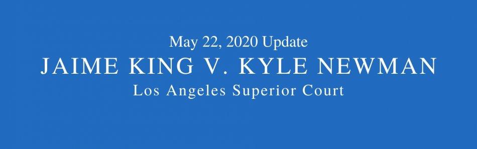 Blue background. Words May 22, 2020 Jaime King v. Kyle Newman divorce, Los Angeles Superior Court