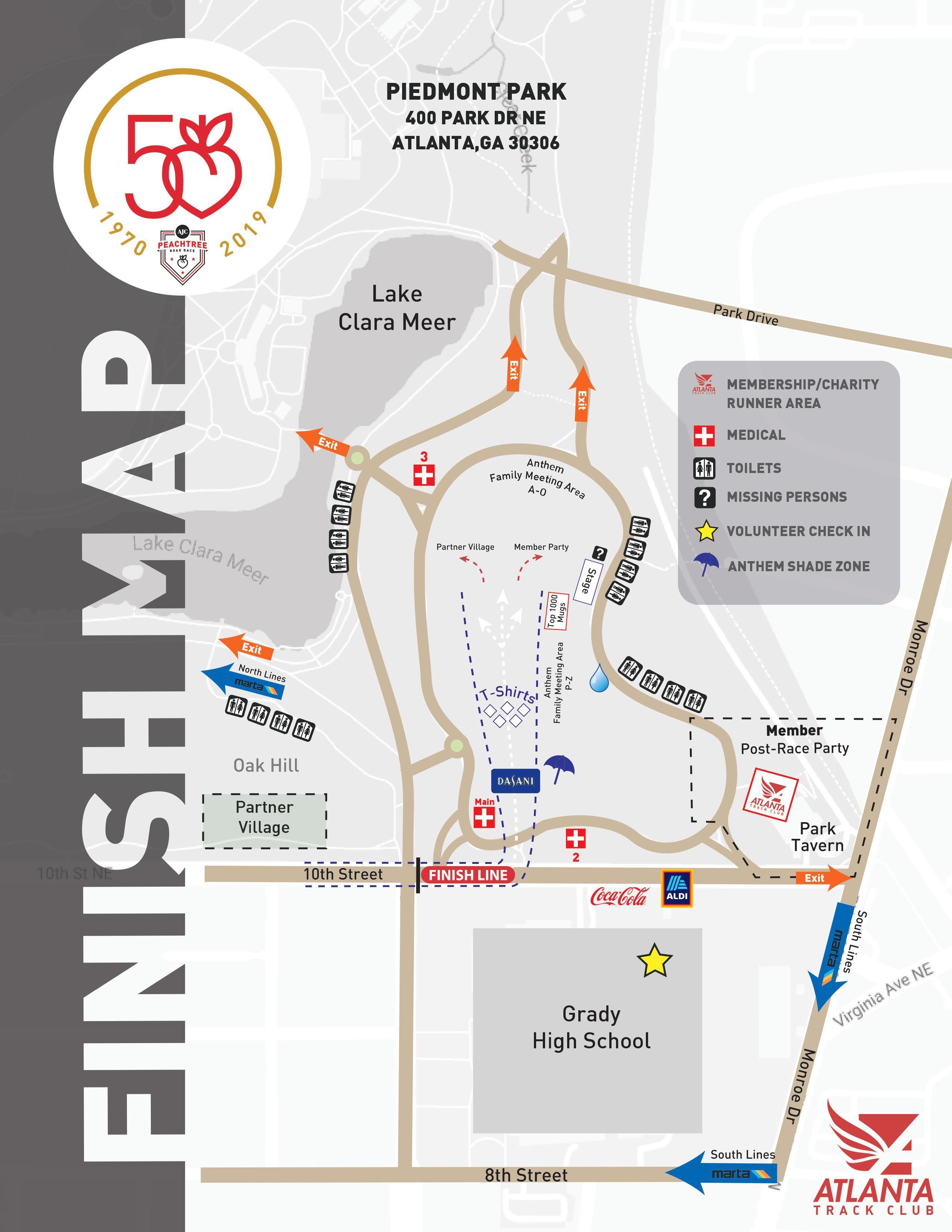 Peachtree Road Race Map Start, Course & Finish Maps | Atlanta Track Club
