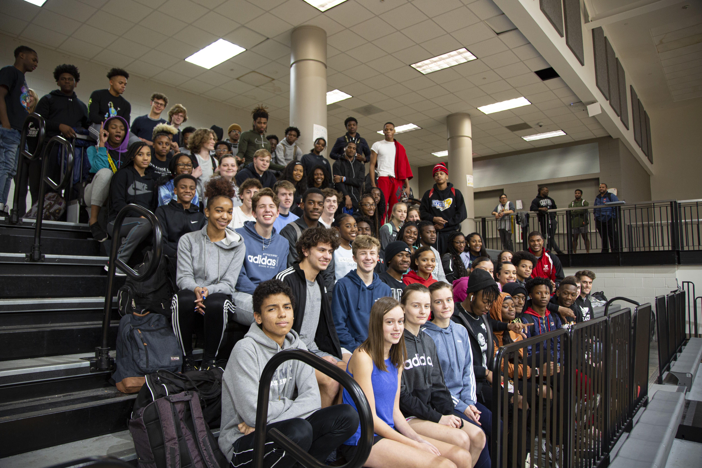 Atlanta Track Club Elite Yolanda Ngarambe and Avery Bartlett visit 50 athletes at North Atlanta High School Track & Field practice.