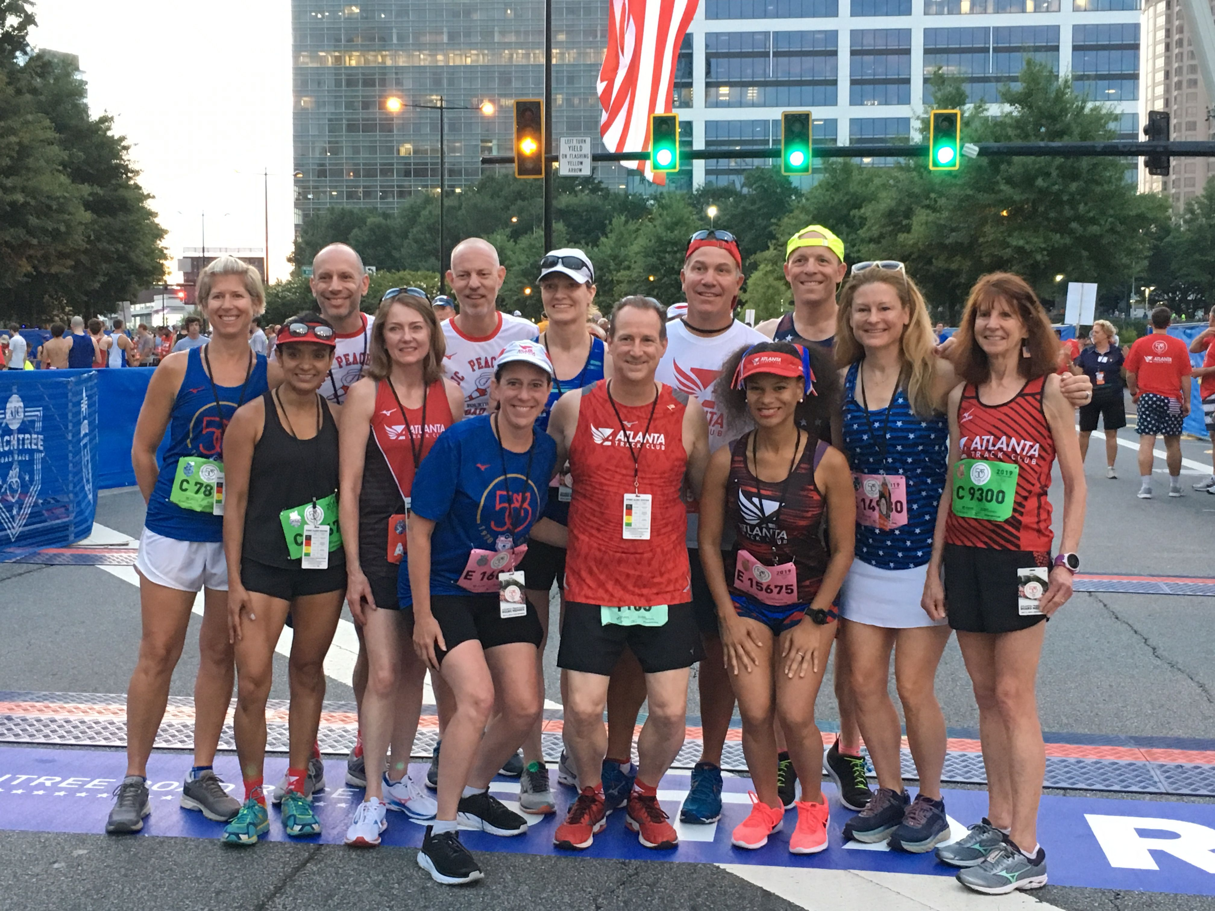 Members of Atlanta Track Club's Board of Directors at the AJC Peachtree Road Race on July 4, 2019.
