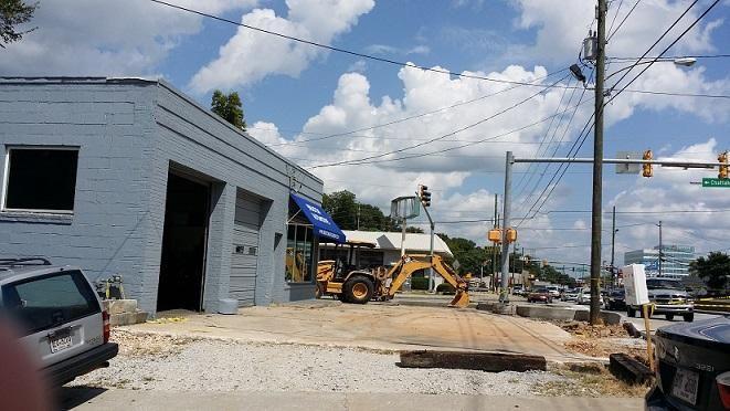 a parking lot under construction