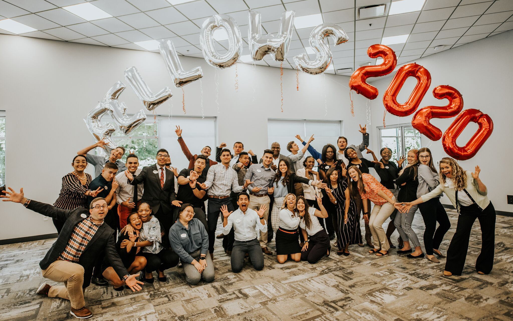 The 2020 Chick-fil-A Fellows celebrate Day 1 of their journey together.