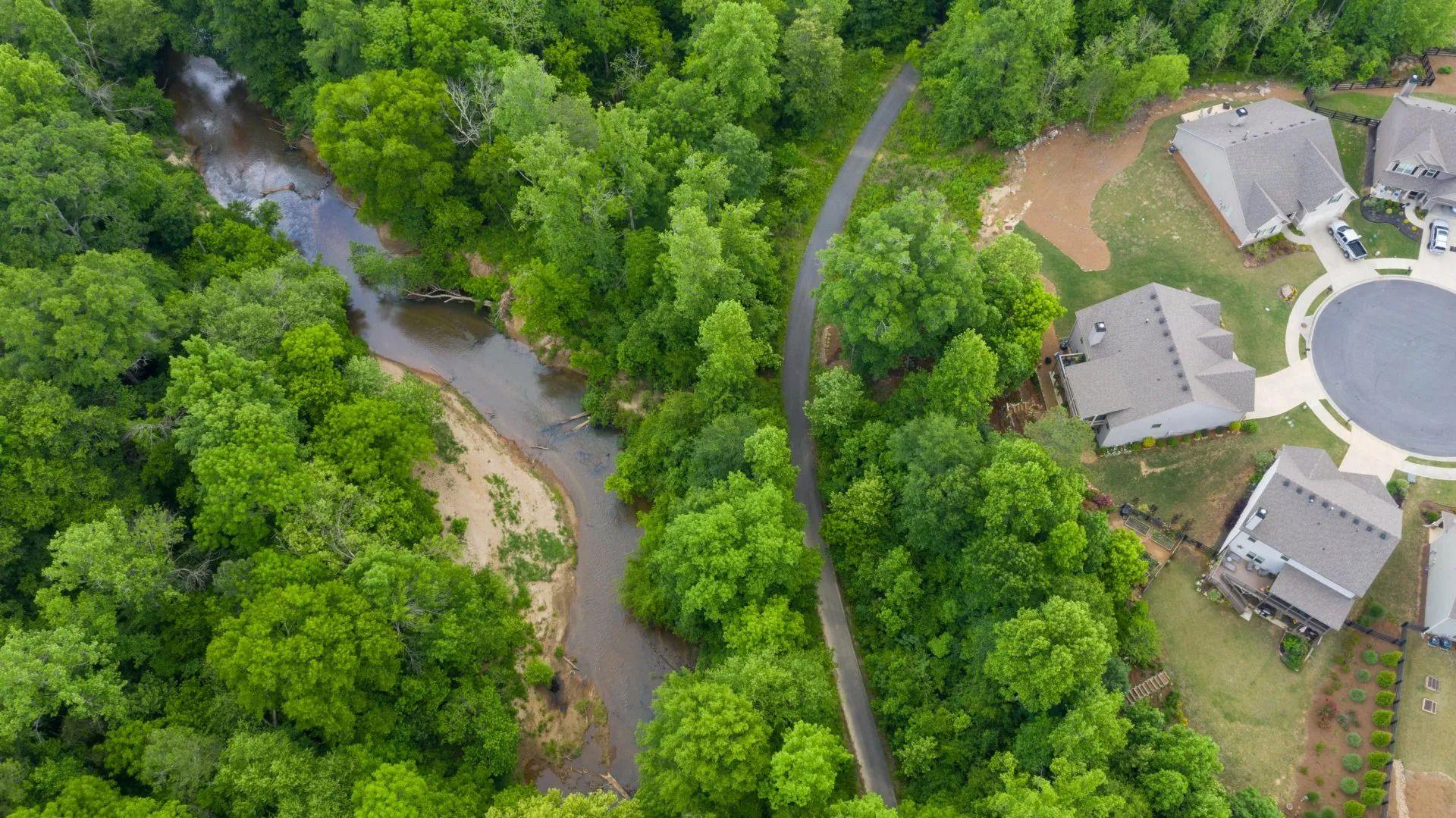 a creek running behind a subdivision at Stratford