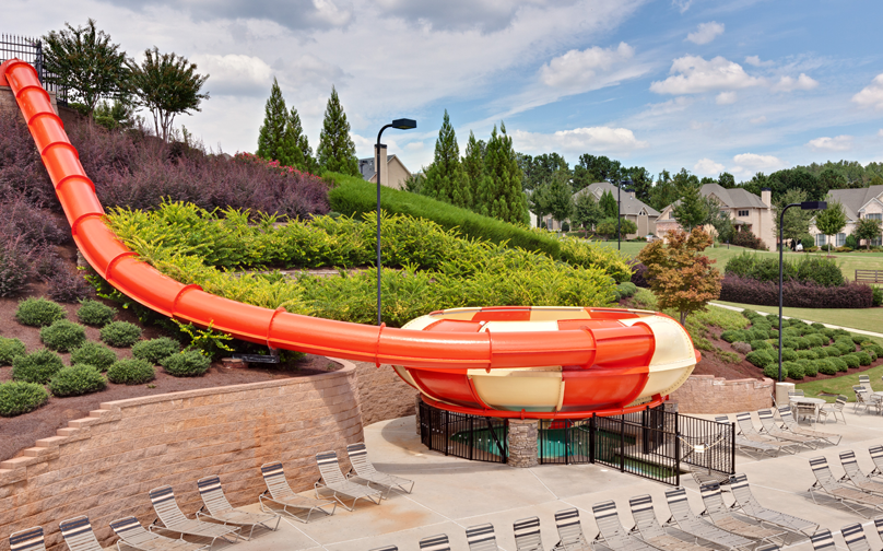 the large waterslide at the NatureWalk community pool