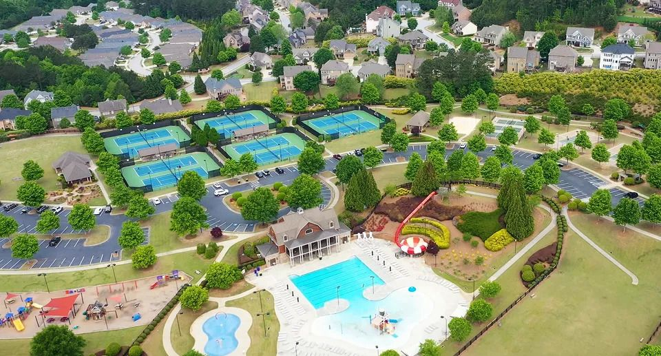 an overhead view of the many amenities at NatureWalk