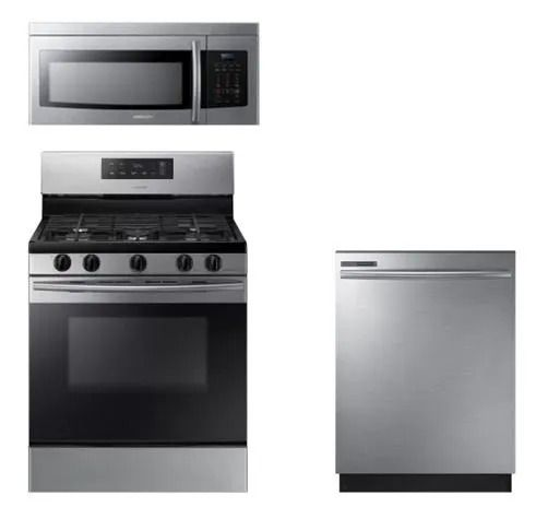 a stainless steel Samsung microwave, stove, and dishwasher