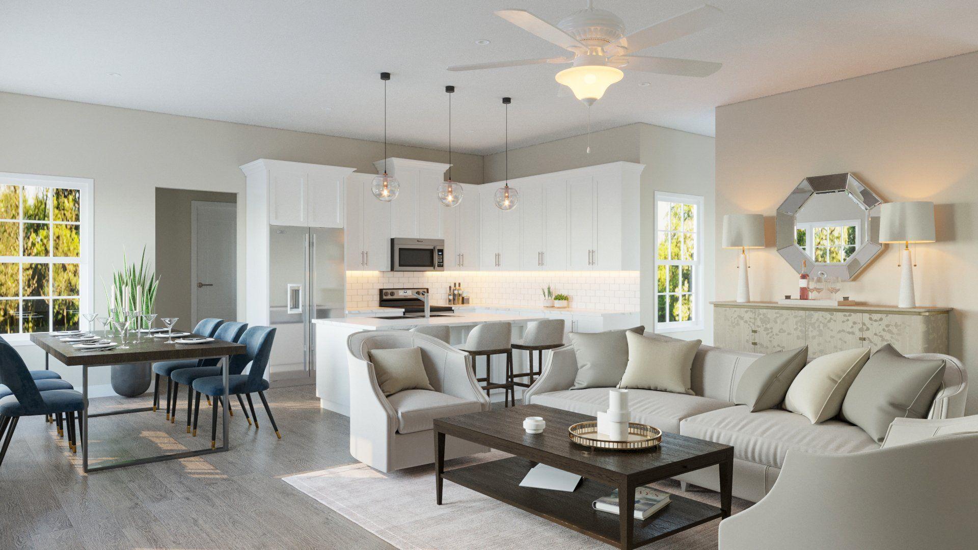 a modern living room with hard wood floors