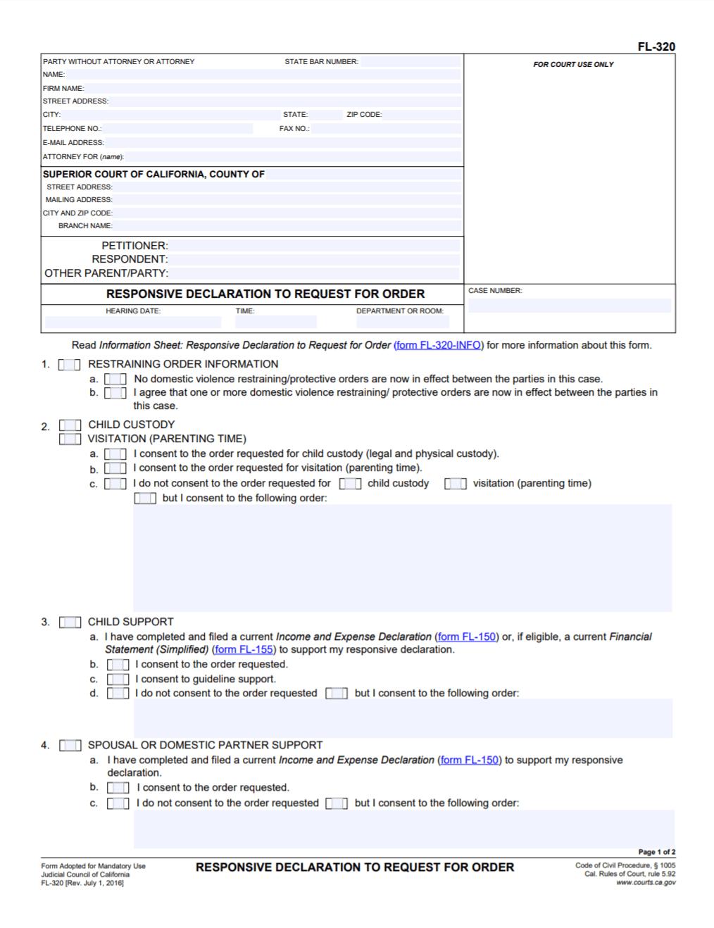 FL-320 responsive declaration