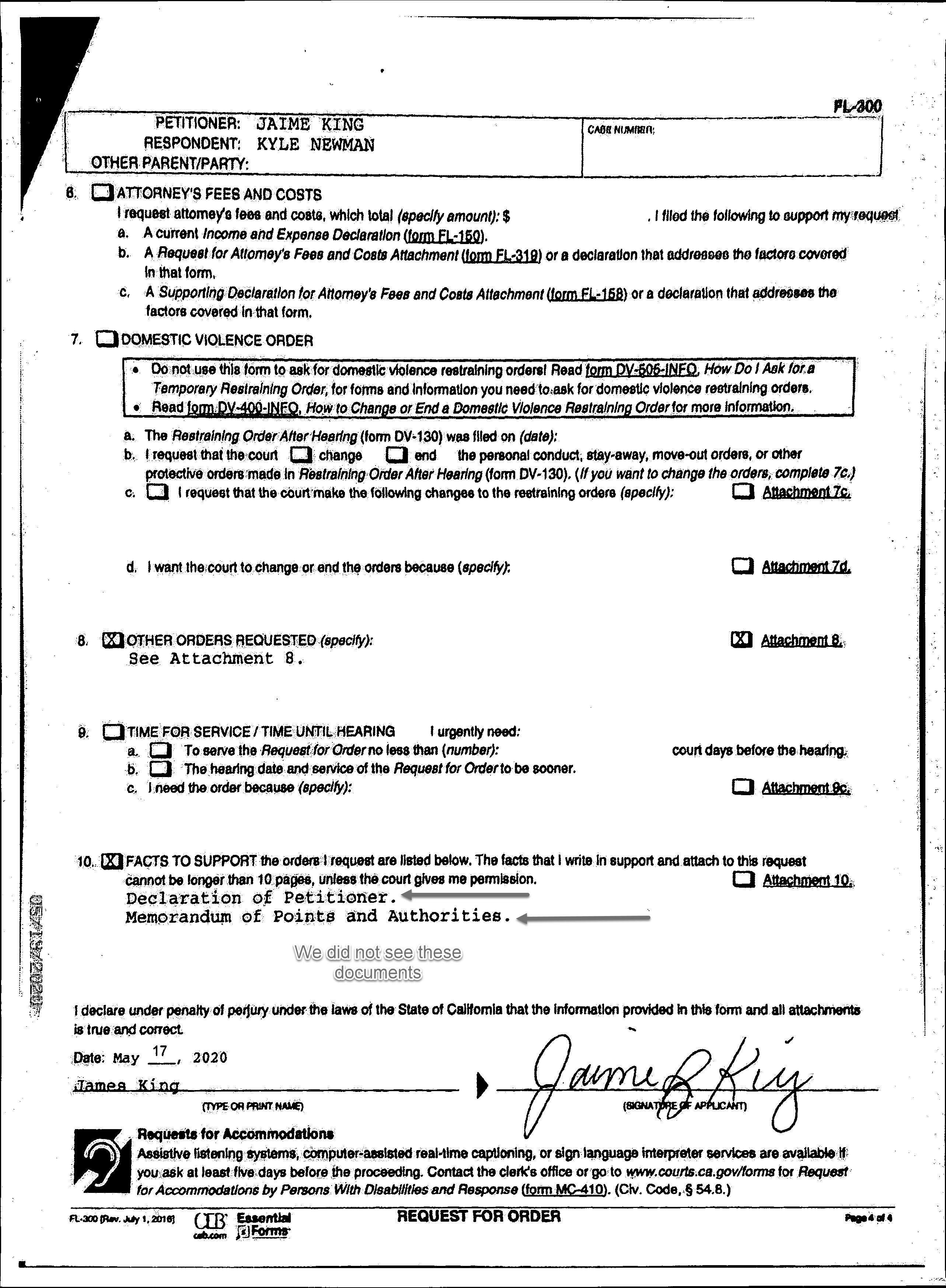 page four of Jaime King's ex parte application