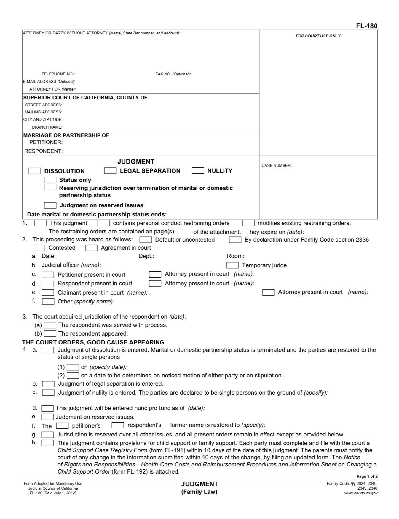 FL-180 judgment form