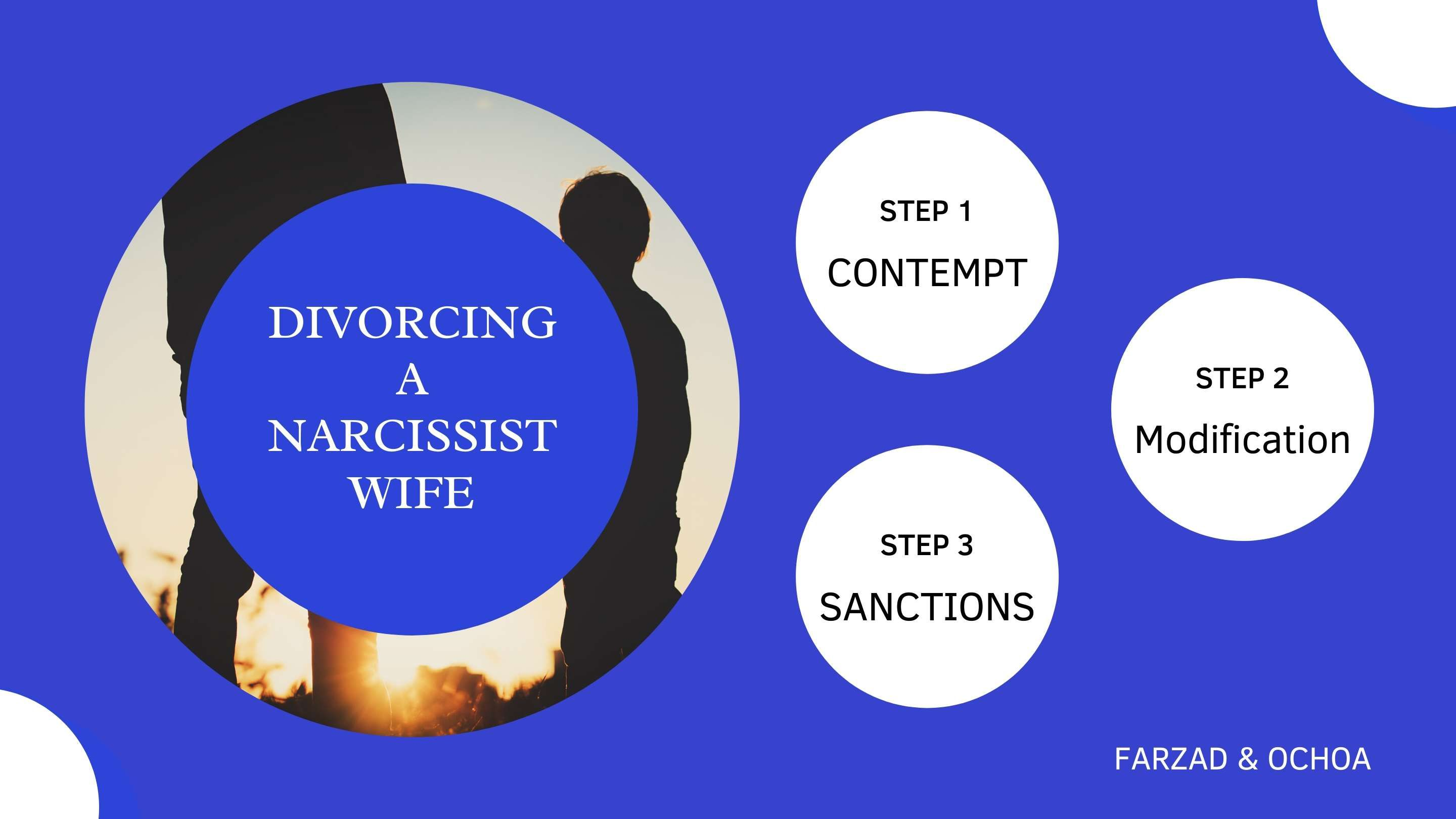 Image of father and son behind the words divorcing a narcissist wife. 3 steps of contempt, modification and sanctions.