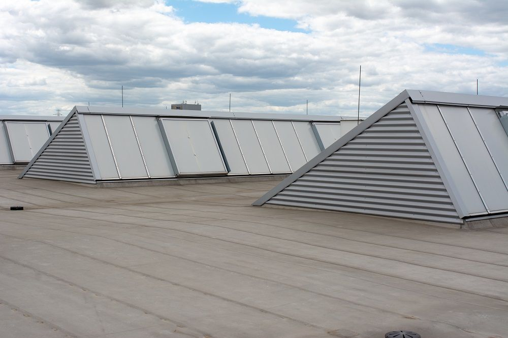 Close Up of Commercial Roof with Skylights