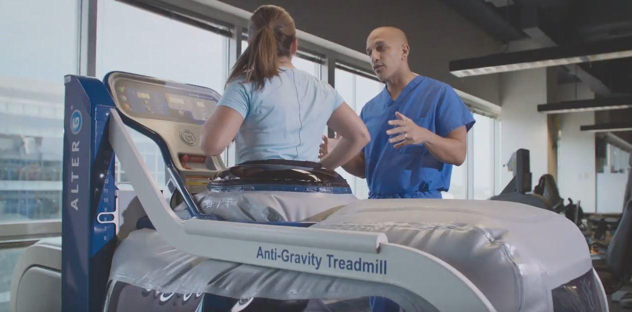 Person on Anti-gravity Treadmill
