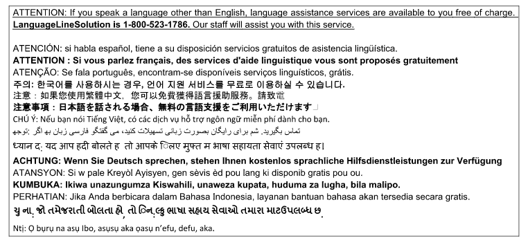 Disclaimer for Language Line Solution about available language assistance