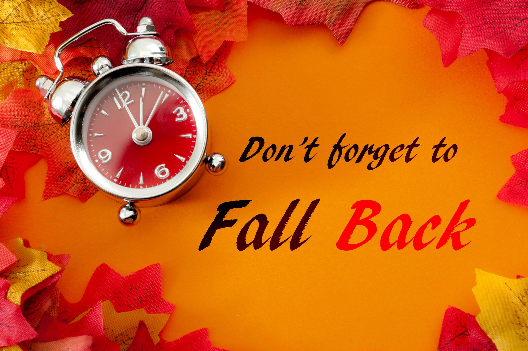 Old school clock with leaves in background and text