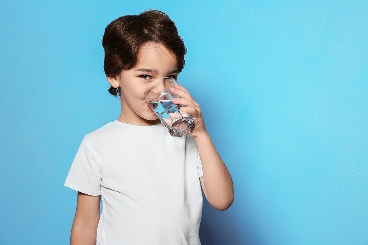 Kid Drinking Glass of Water