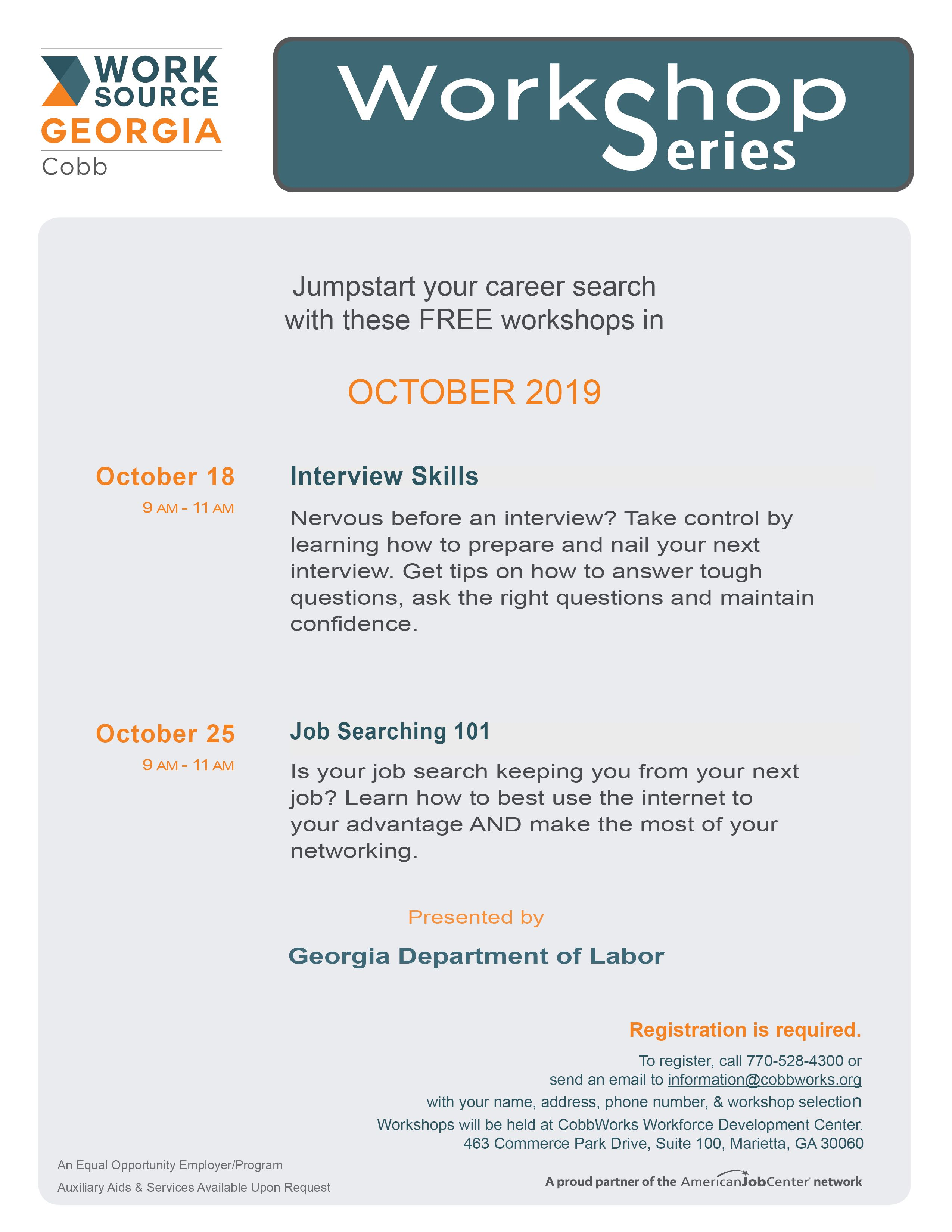Interview Skills on October 18 and Job Searching on October 25