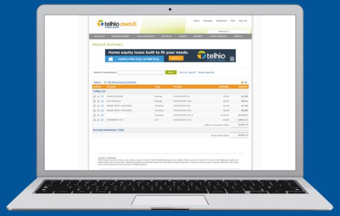 laptop viewing Telhio online banking