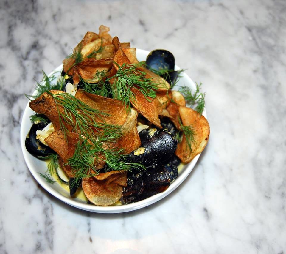 Bar Frances's Mussels with Dill-Seasoned Chips