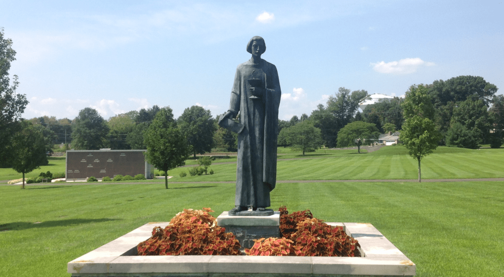a statue of a person in a green field