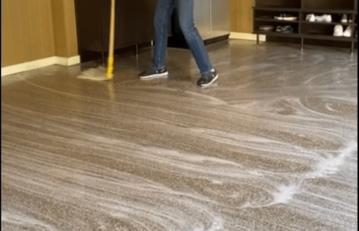 Mop the floor with soapy water