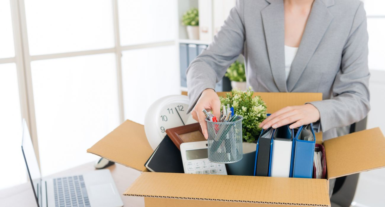 a person packing their office