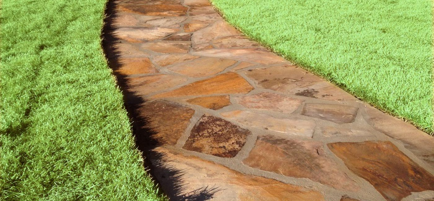 Brown flagstone walkway
