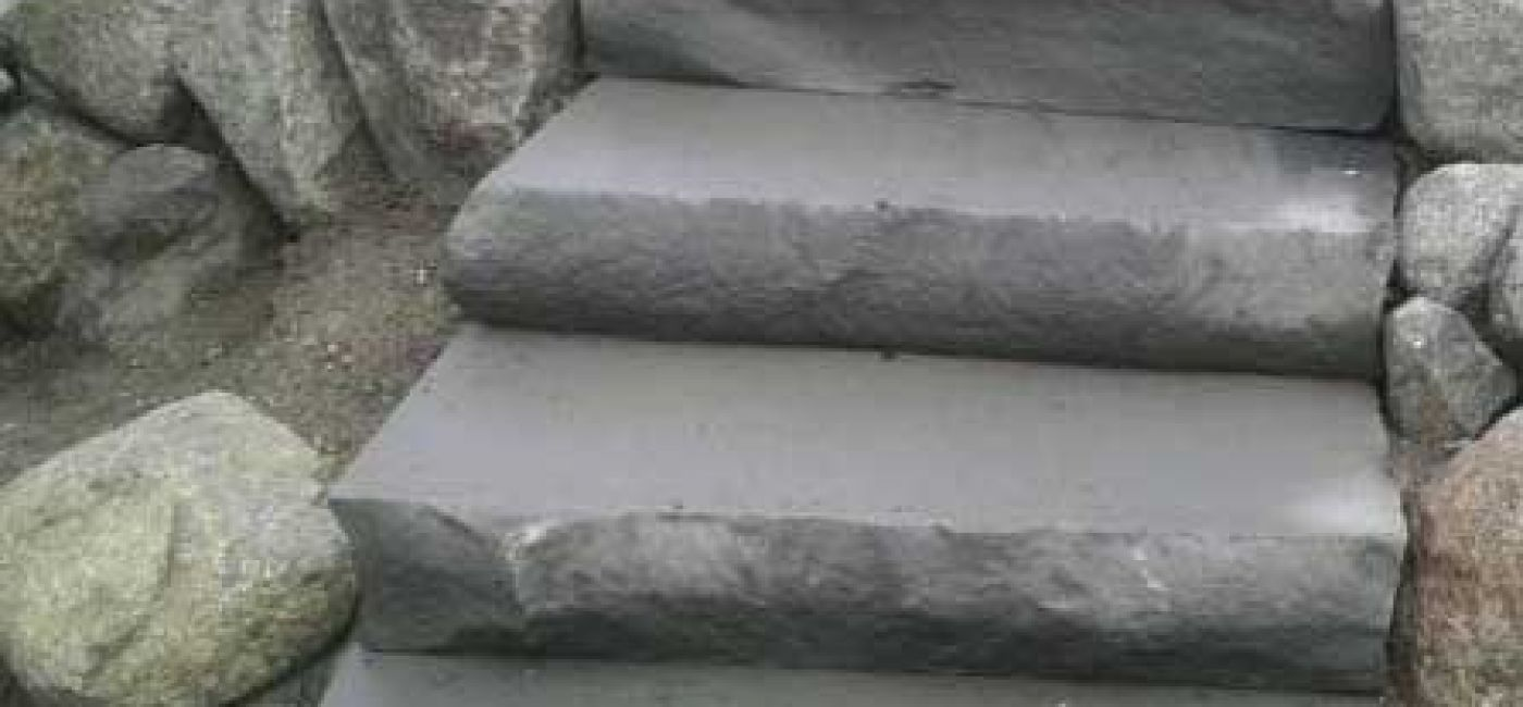 Stone step treads in blue / grey color