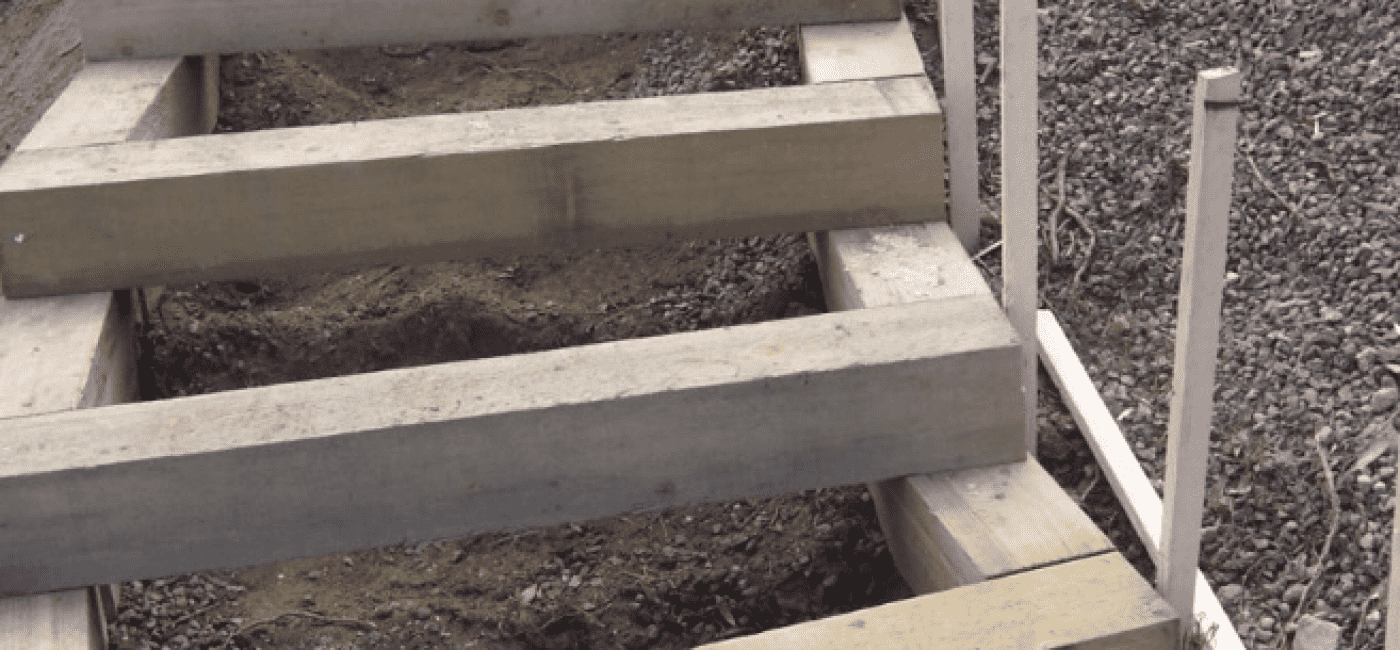 Timber box tread steps being built