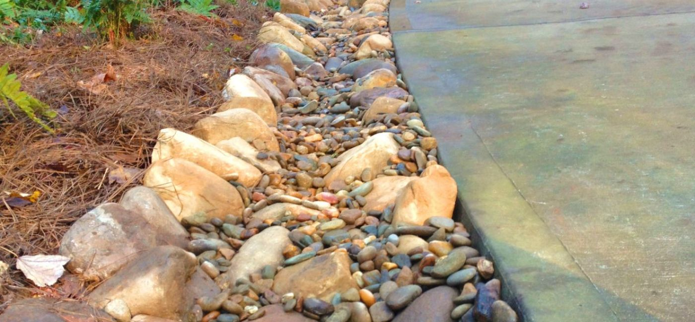 Creekbed along side driveway