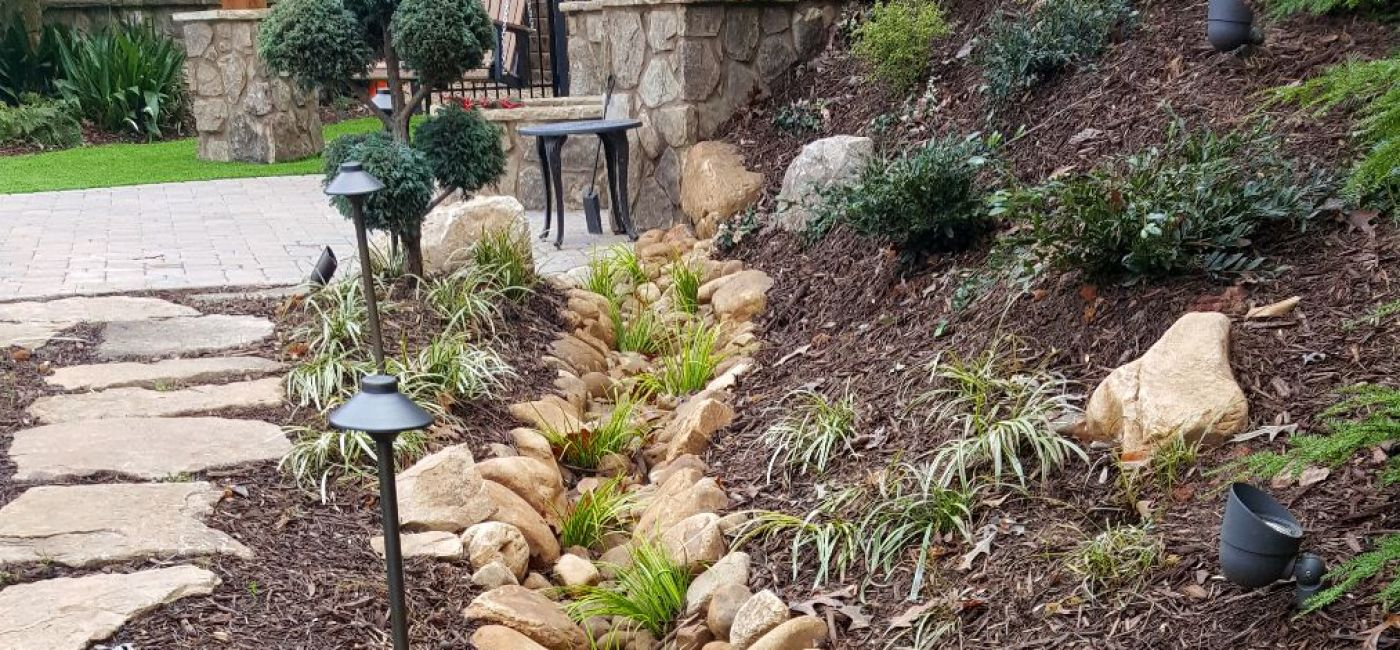 Small deco drainage channel creek bed