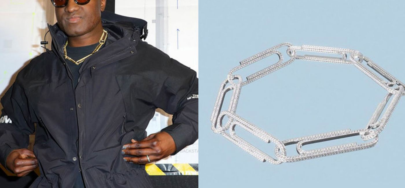 Virgil Abloh and Jacob & Co. create a bejeweled paper clip 'necklace'