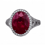 Pager to activate Natural Oval Shape Ruby Ring