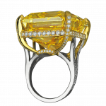Pager to activate Fancy Vivid Yellow Radiant Cut Diamond Ring