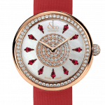 Pager to activate Brilliant One Row Rose Gold Ruby 44mm
