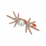 Pager to activate Star Pearl Diamond Two Finger Ring