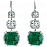 Pager to activate Cushion Cut Emerald Drop Earrings