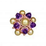 Pager to activate Rose Gold Golden Pearl and Amethysts Ring