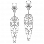 Pager to activate Jacob's Web Long Earrings with White Pearls