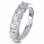 Pager to activate Square Emerald-Cut Partial Eternity Band