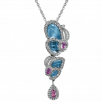 Pager to activate Small Drop Blue Topaz Papillon Pendant