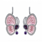 Pager to activate Pink Quartz Papillon Earrings