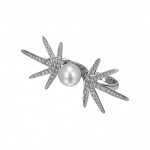 Pager to activate Pearl Diamond Two Finger Ring