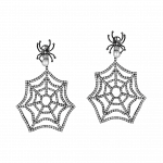 Pager to activate Black Plated Web Earrings