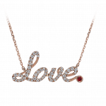 Pager to activate Rose Gold Pave Love Necklace Ruby
