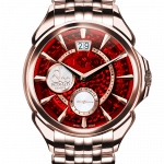 Pager to activate Palatial Classic Manual Big Date Mineral Crystal Dial - Rose Gold Bracelet