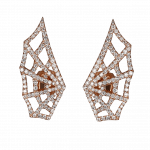 Pager to activate Rose Gold Brilliant Cut Diamond Spider Web Earrings