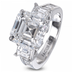 Pager to activate Three-Stone Square Emerald-Cut Bridal
