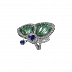 Pager to activate Prasiolite Papillon Ring